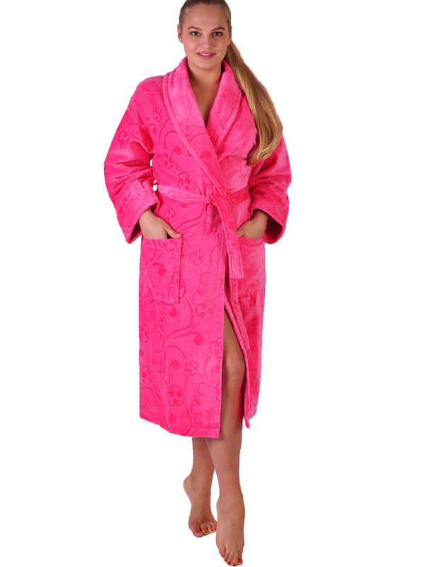 Халат махровый хлопок шаль розовый
