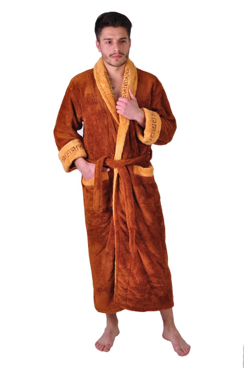 Халат махровый Yener софт шаль Версаче темно коричневый