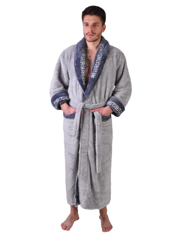 Халат махровый Yener софт шаль Версаче светло серый