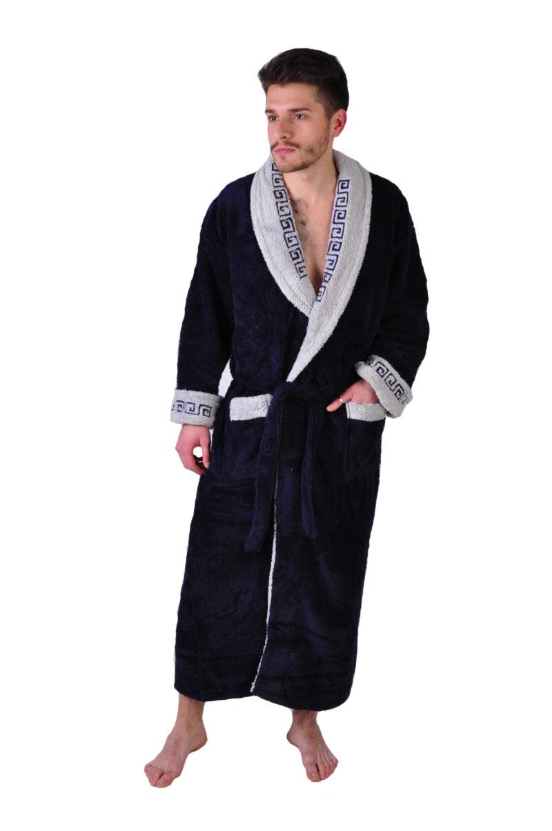 Халат махровый Yener софт шаль Версаче синий