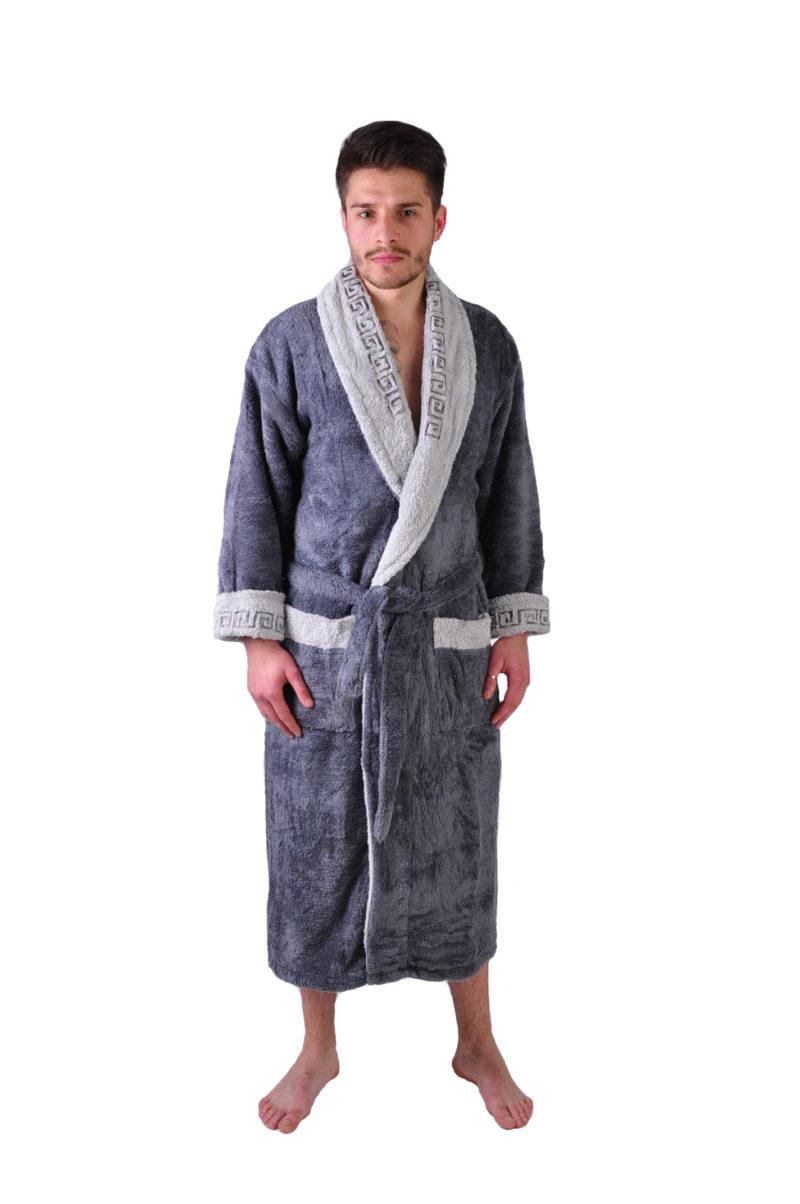 Халат махровый Yener софт шаль Версаче темно серый