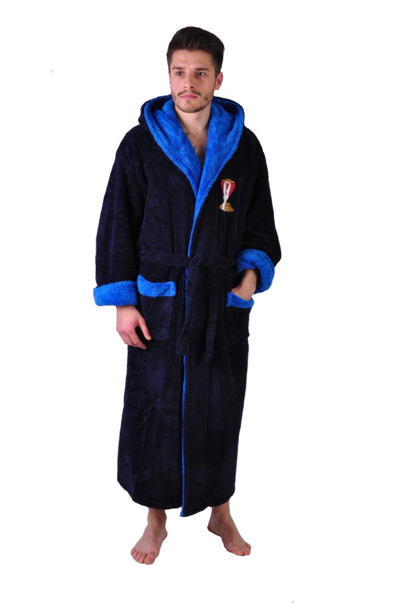 Халат махровый софт Кобра синий капюшон
