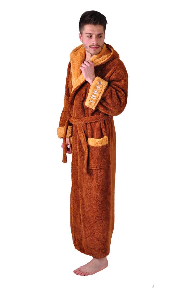 Халат махровый Yener софт Спорт коричневый капюшон