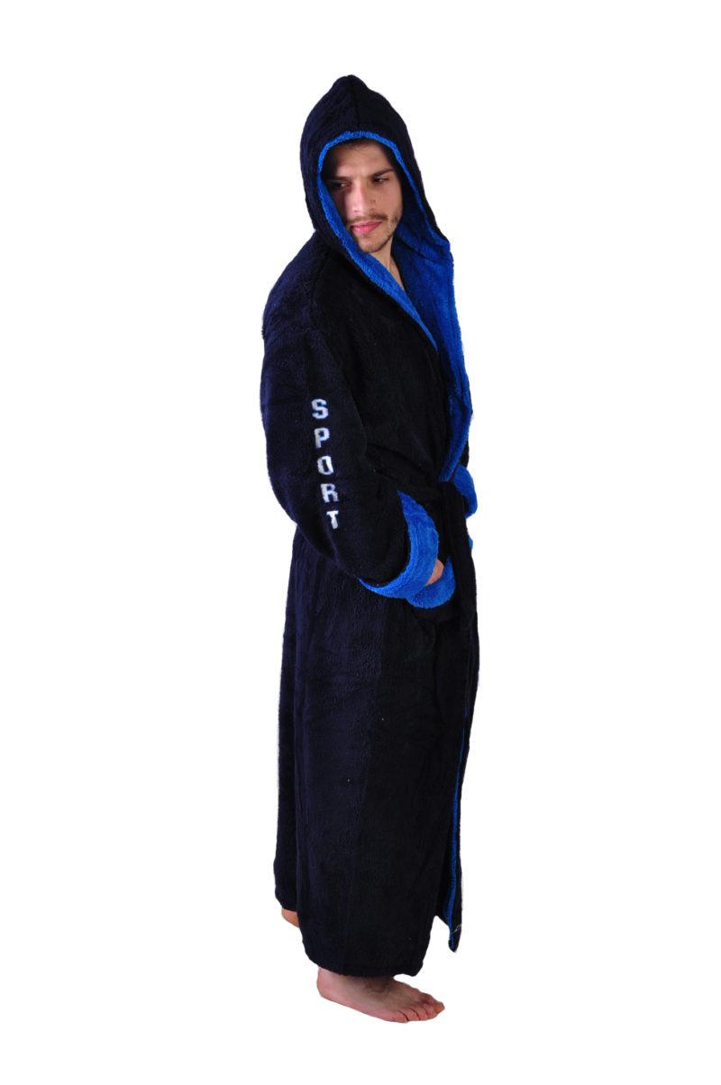 Халат махровый Yener софт Спорт синий капюшон