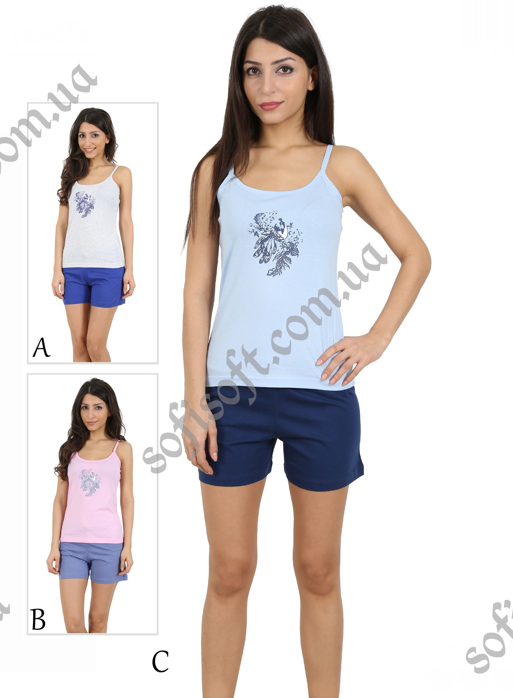 Пижама женская шорты 4091784640