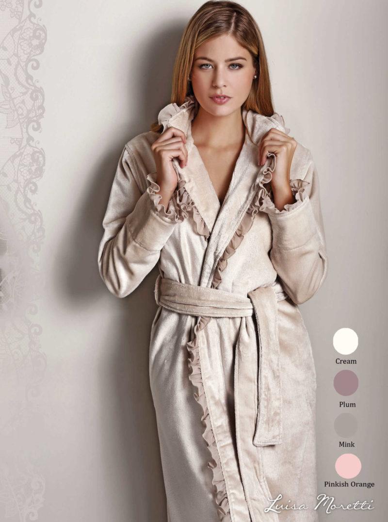 Женский махровый халат LMS-2062 mink S