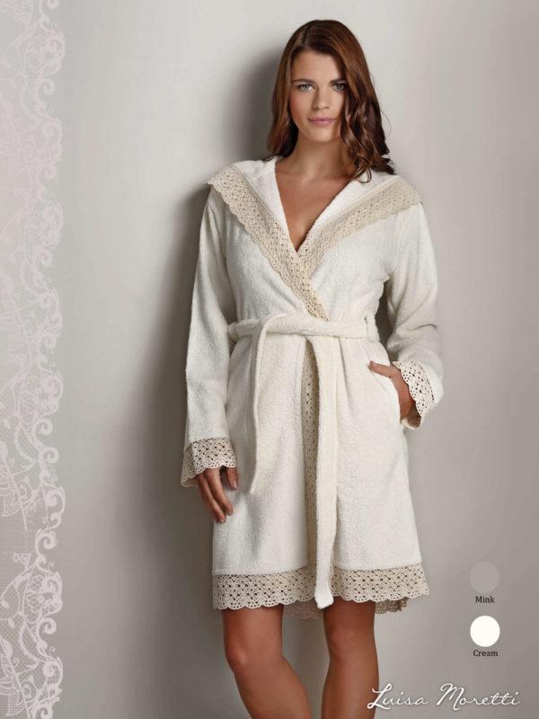 Женский махровый халат LMS-2074 cream S