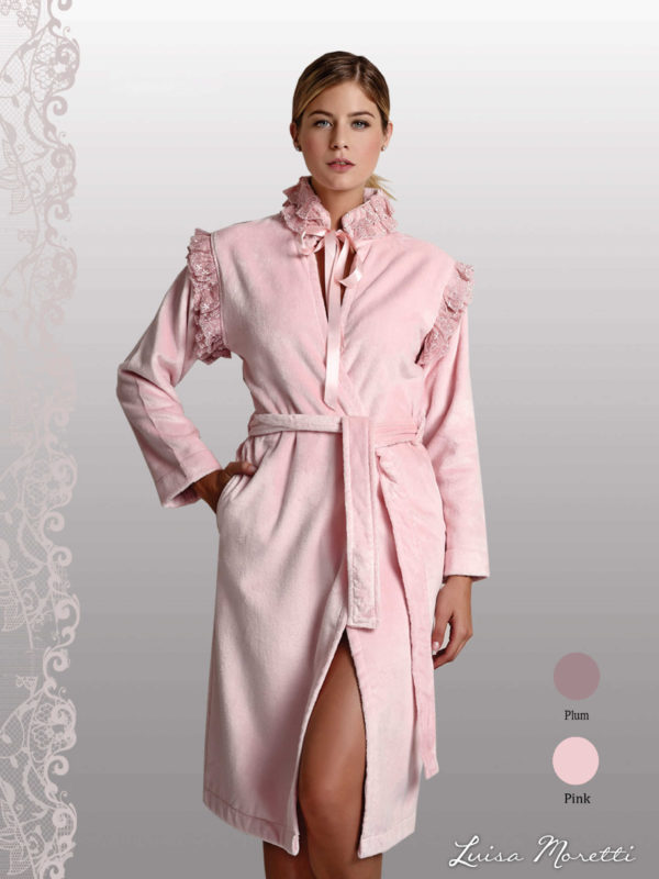 Женский махровый халат LMS-2079 pink S
