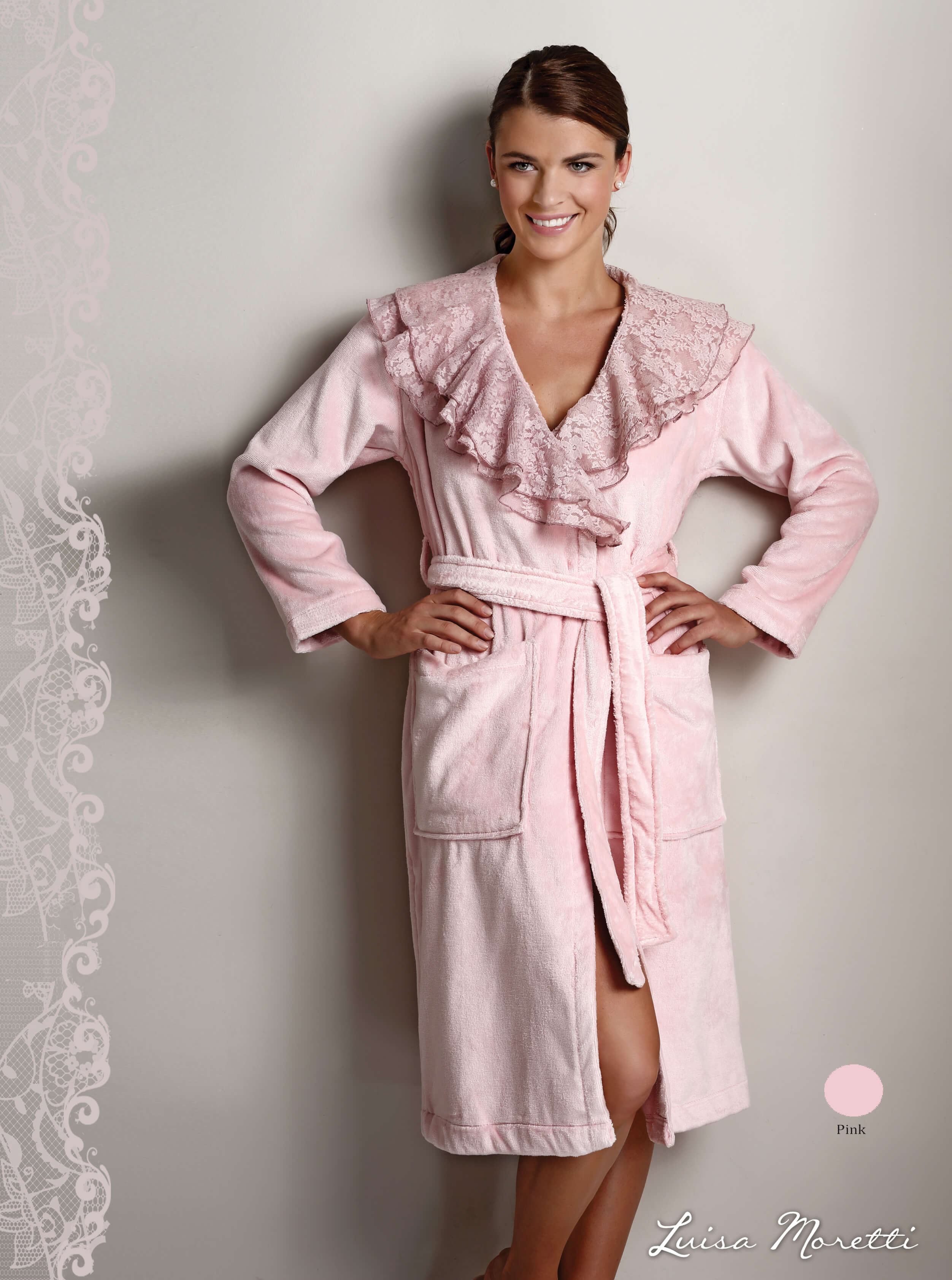 Женский махровый халат LMS-2085 pink S