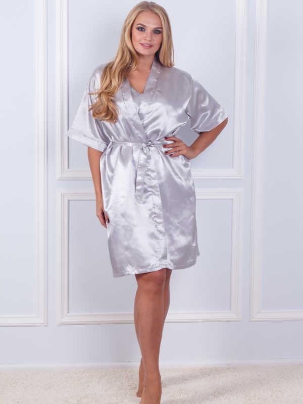 Халат ночная шёлк набор Sofi Soft 10876 gray