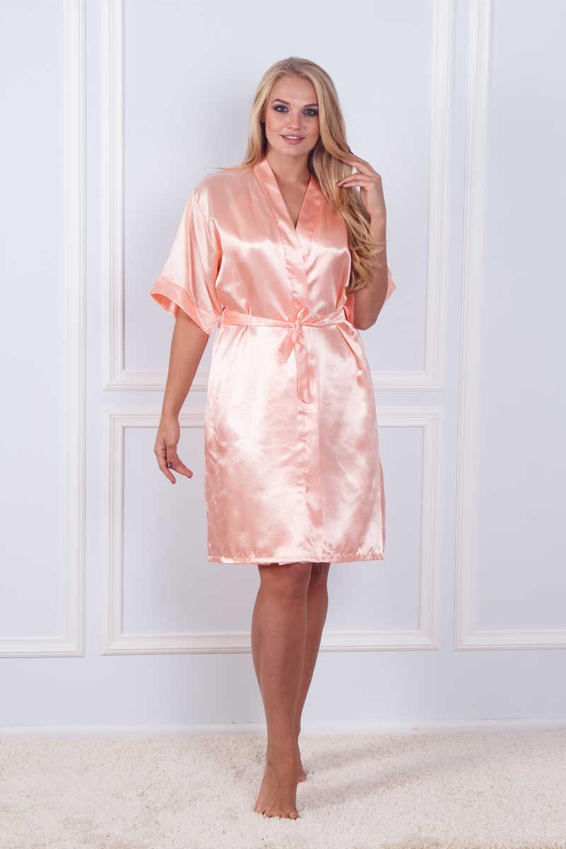 Халат ночная шёлк набор Sofi Soft 10876 peach