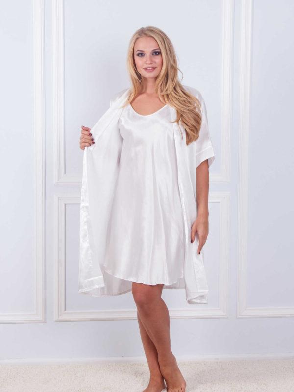 Халат ночная шёлк набор Sofi Soft 10876 white