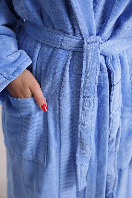 Халат махровый хлопок длинный Blue 10817