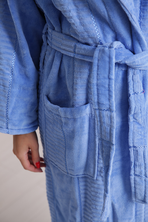 Халат махровый хлопок шаль Blue 10818